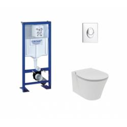Pack WC Grohe Rapid SL + Cuvette Aquablade Connect Air + Plaque Chromée