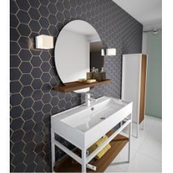 Meuble simple vasque STEEL 100 cm - Blanc Mat et Hêtre Lamina Foncé
