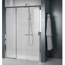 Paroi de douche 2 portes coulissantes + 1 fixe LUNES 2.0 3PH 80 cm - Transparent - Silver - Ouv. Gauche