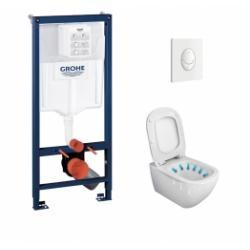 Pack WC Grohé Rapid SL Mural + Cuvette sans bride Tesi AquaBlade + Plaque Blanche