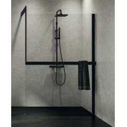 Système de fixation KIT-FRAME - Fixation au mur à Droite + Porte-serviette - Noir