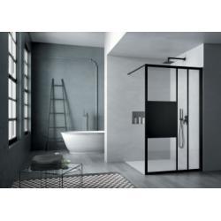 Paroi de douche sérigraphiée MOSAIC C Noir mat 100 cm