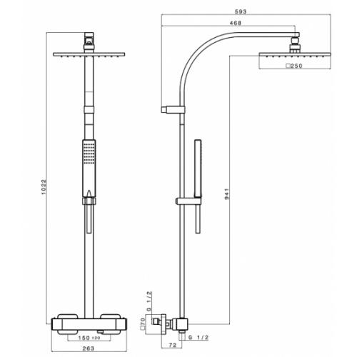 Colonne de douche thermostatique SOFT Sf48651 schéma