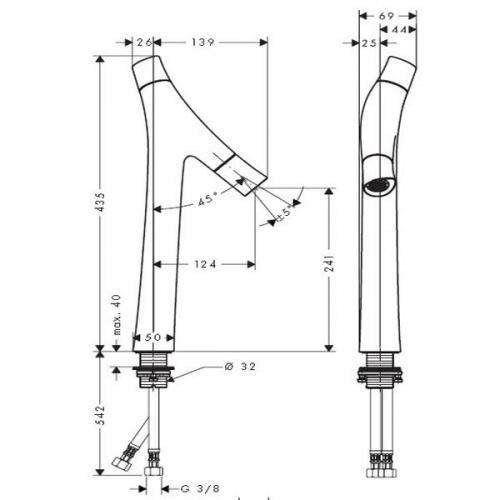 Mitigeur lavabo Design haut Axor Starck Organic 12013000 12013000 cote