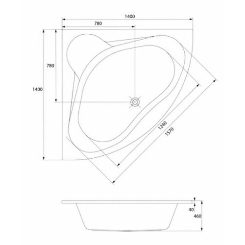 Baignoire d'angle 140x140 Venus sans tablier Venus schéma