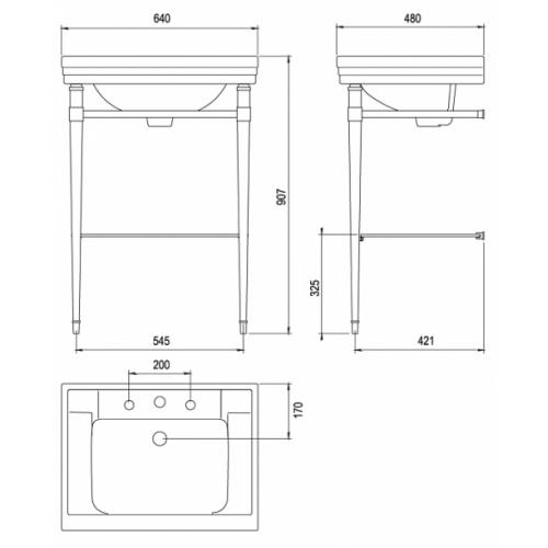 Lavabo 3 trous céramique + piètement métallique Ascott 68211 cote