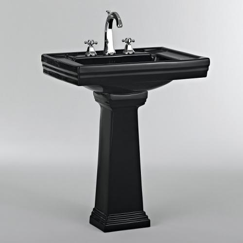 Lavabo 3 trous + colonne rétro céramique noire Ascott Ascott ceramique noir lavabo 68205+colonne 68208 + robinet 62261 chrome