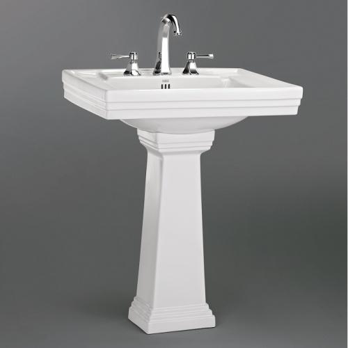 Lavabo 3 trous + colonne rétro céramique blanche Ascott