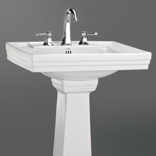 Lavabo 3 trous + colonne rétro céramique blanche Ascott Ascott ceramique lavabo 68205 + colonne 68208 zoom