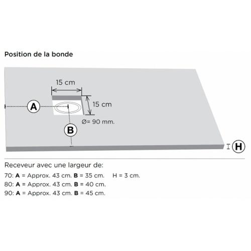 Receveur de douche 70x90 Piedra Blanc Position bonde 2