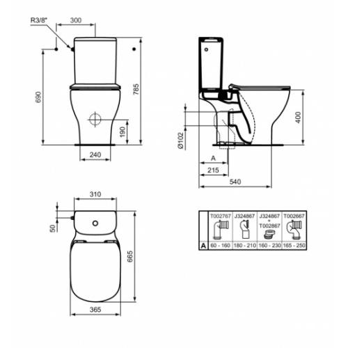 Pack WC complet sans bride Tesi AquaBlade TESI T033601 - Schéma