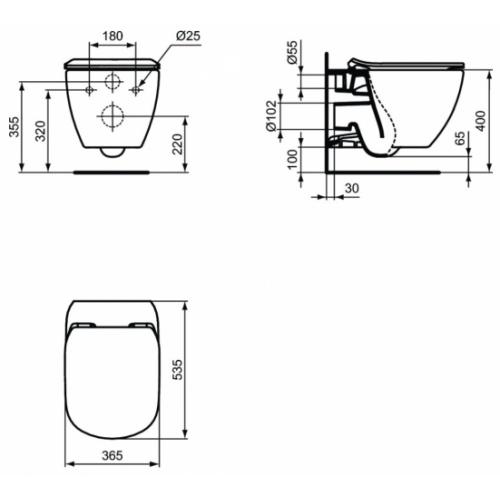 Pack WC Geberit UP320 + Cuvette AquaBlade TESI + Sigma Chromé Brillant Cuvette suspendue TESI Schéma