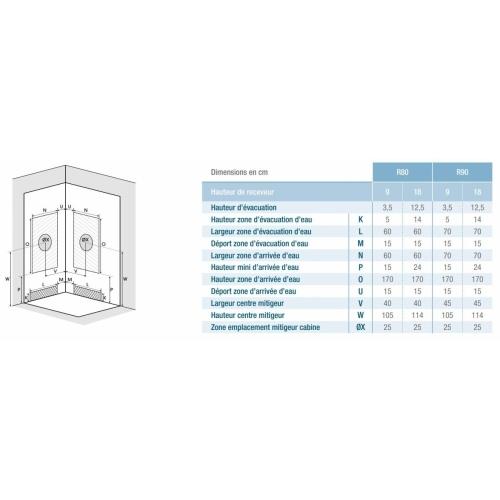 Cabine de douche Kineprime faible hauteur - Coulissante - 1/4 de Rond 80cm KINEPRIME Installation 1/4 Rond
