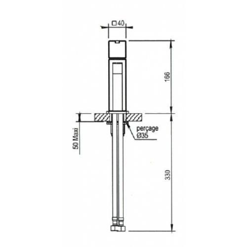 Mitigeur lavabo monotrou MYRIAD avec vidage Clic-clac - 55.709 CH Myriad côte 2