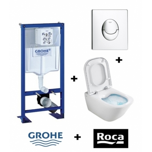 Pack WC Grohe Rapid SL + Cuvette GAP Cleanrim Roca + Plaque Chromée Zoom gap rapid sl 13604
