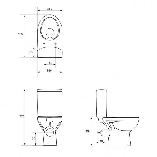 Pack WC sol VELVET sans bride sortie horizontale Plan technique pack wc velvet