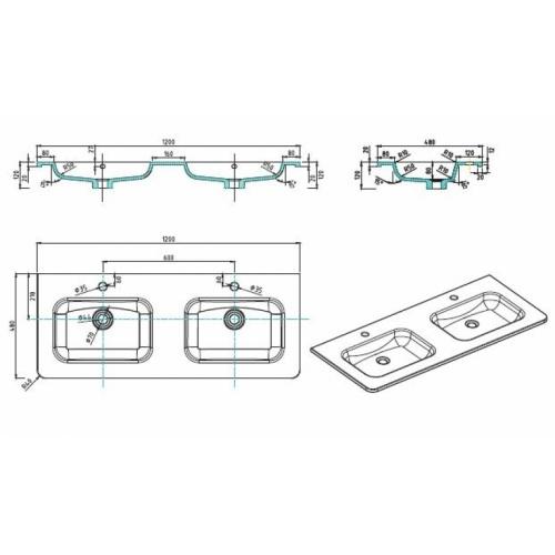 Meuble double vasque 120cm Toola Argile sans miroir Plan tech toola 120