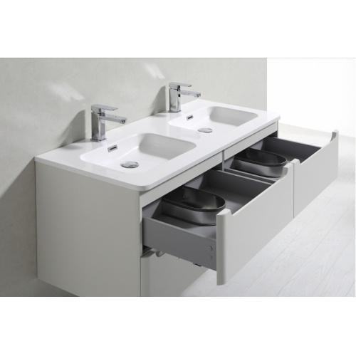 Meuble double vasque 120cm TOOLA Blanc Brillant sans miroir 2r2a9577