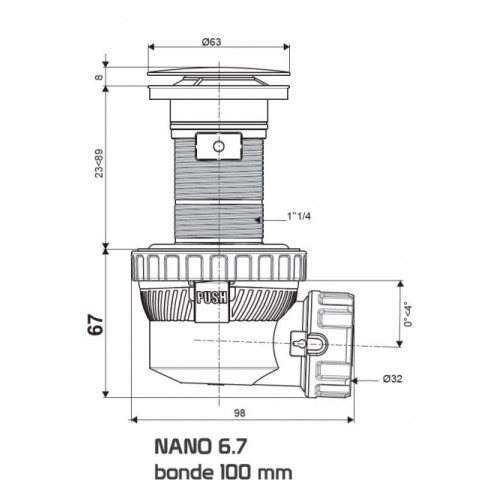 Bonde recoupable et siphon de lavabo ultra compact NANO 6.7 Nano Schéma