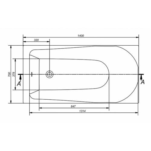 Baignoire rectangulaire 140x70 Flavia sans tablier Flavia technique 140
