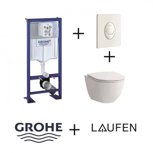 Pack WC Grohe Rapid SL + Cuvette Rimless Laufen Pro + Plaque blanche Pack wc grohé+rimless+blc