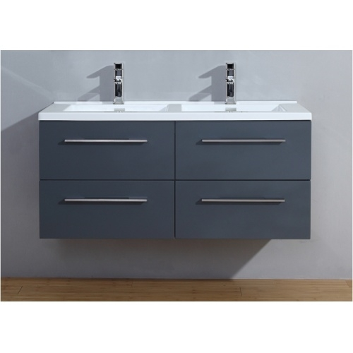 Meuble double vasque 117 Saturn 2.0 Gris Brillant sans miroir