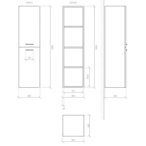 Colonne de salle de bain Jupiter 2.0 135cm Bois Clair Côtes colonne