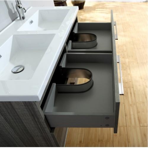Meuble double vasque 117 Jupiter 2.0 Bois Gris Scié SANS miroir City 120 storm tiroirs ouverts