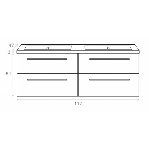 Meuble double vasque 117 Jupiter 2.0 Bois Gris Scié SANS miroir Côtes meuble 120