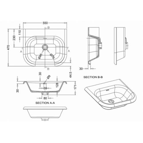 Lavabo CLEARWATER Tradition avec piétement 55cm Clearwater vasque classique 55 cm b7e
