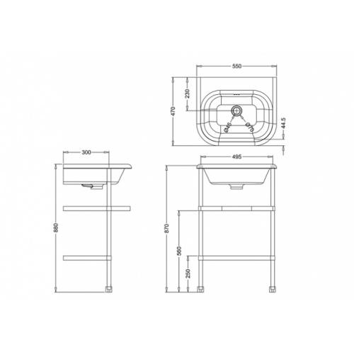 Lavabo CLEARWATER Tradition avec piétement 55cm Clearwater vasque classique petit + piétement b7e
