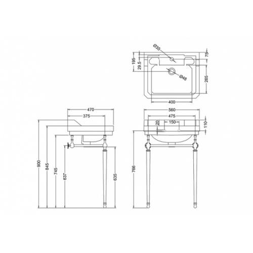 Vasque rectangulaire et console Edouardien BURLINGTON 56 cm Edouardien 56 cm + console burlington