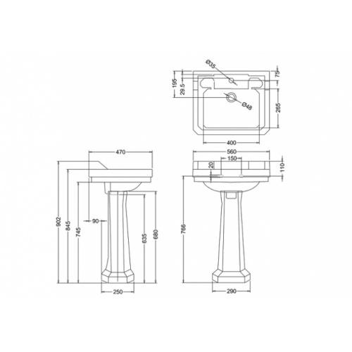 Vasque rectangulaire et colonne Edouardien BURLINGTON 56 cm Vasque rectangulaire + colonne edouardien burlington b4 + p1