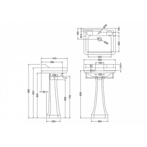 Vasque rectangulaire et colonne réhaussée Edouardien BURLINGTON 56 cm Vasque 56 cm rectangulaire + colonne rehaussée edouardien burlington b4 + p9
