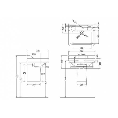 Vasque rectangulaire et demi-colonne Edouardien BURLINGTON 56 cm Vasque 56 cm+demi colonne edouardien burlington côtes