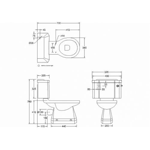 WC Compact BURLINGTON avec levier de réservoir en céramique 520 - Abattant frein de chute Acajou Wc compact levier p5+c1 burlington cotes