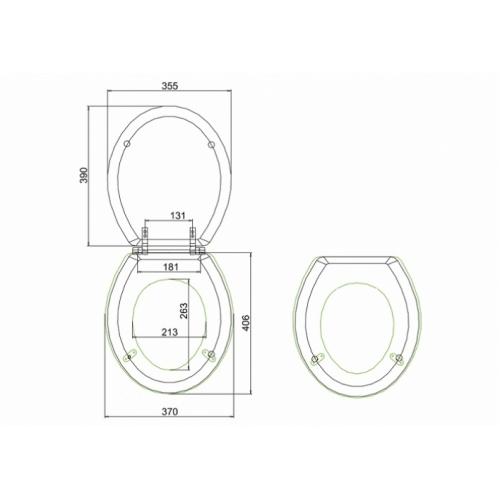 WC Compact BURLINGTON avec levier de réservoir en céramique 520 - Abattant frein de chute Acajou Abattant standard burlington s11 cotes
