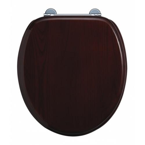 WC Compact BURLINGTON avec levier de réservoir en céramique 520 - Abattant frein de chute Acajou Abattant standard burlington s12 acajou sans poignée