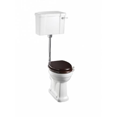 WC BURLINGTON avec levier de réservoir en céramique Taille basse 520 - Abattant frein de chute Acajou