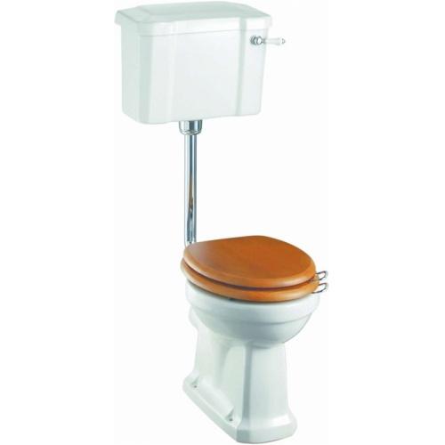 WC BURLINGTON avec levier de réservoir en céramique Taille basse 520 - Abattant frein de chute Chêne