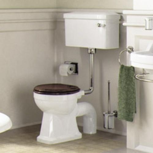 WC BURLINGTON avec levier de réservoir en céramique Taille basse 520 - Abattant frein de chute Acajou Wc compact p5+c1 burlington ambiance