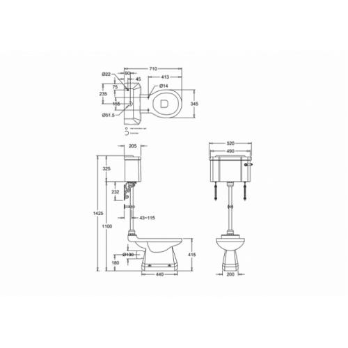 WC BURLINGTON avec levier de réservoir en céramique Taille moyenne 520 - Abattant frein de chute Blanc Wc taille moyenne levier p2+c1 burlington côtes