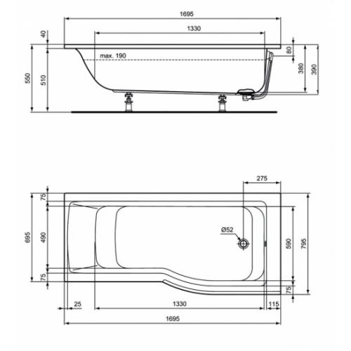 Baignoire-douche asymétrique CONNECT AIR - Version Droite Idealstandard baignoire asymétrique connect air droite e113501 côtes