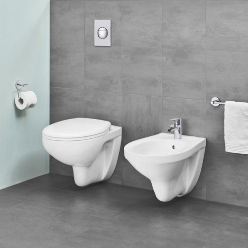 Pack WC Geberit UP320 + Cuvette GROHE sans bride Bau Ceramic + plaque sigma CHR brillante Bau ceramic wc sans bride 39427000