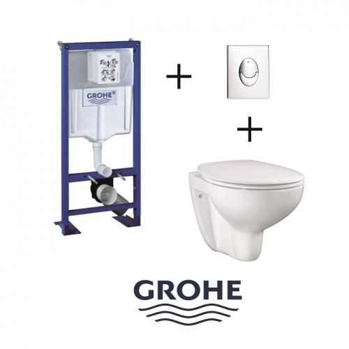 Pack WC Grohe Rapid SL + Cuvette GROHE sans bride Bau Ceramic + Plaque Chromée Pack wc grohé+bau ceramic+pl ch