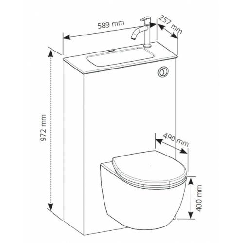 Pack WC Lave-Mains TRIO 3 - Gain de place Schema trio
