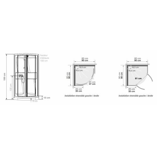 Cabine de douche Kineprime faible hauteur - Coulissante - 1/4 de Rond 80cm KINEPRIME 9 cm 1/4 Rond