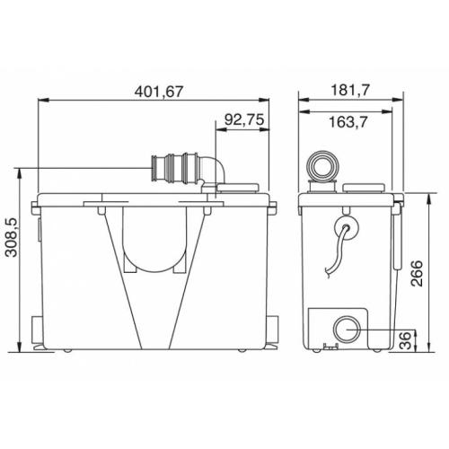 Pompe de relevage pour eaux usées domestiques - Fabrication Francaise Pompe sfa schéma