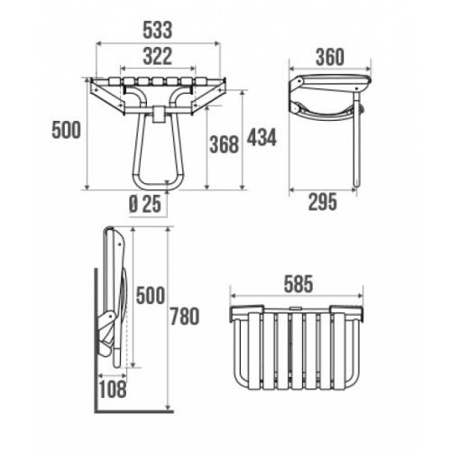 Siège de douche escamotable Assise grande taille - Blanc Siége escamotable grande taille