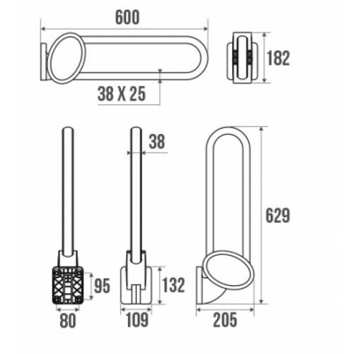 Barre d'appui relevable Blanc 60 cm ARSIS - 048660 Schéma barre relevable 600mm